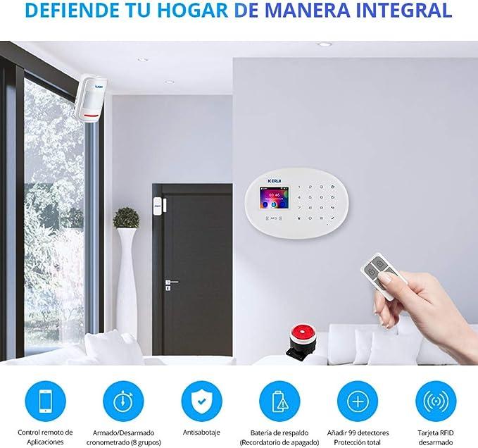KERUI W20 Sistema Alarma Hogar gsm/WiFi sin cuotas Control por App/Call/SMS/Tarjeta RFID, Kit Alarma Casa Seguridad DIY con Detector/Sensor Movimiento ...