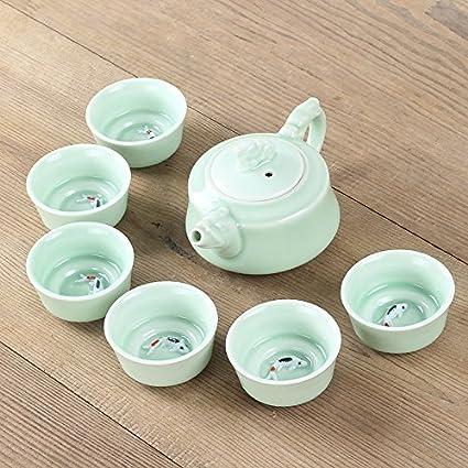 Te Te Celadon Set Chinese Establece 6pcs Vaso 1pcs Tetera Peces 3d