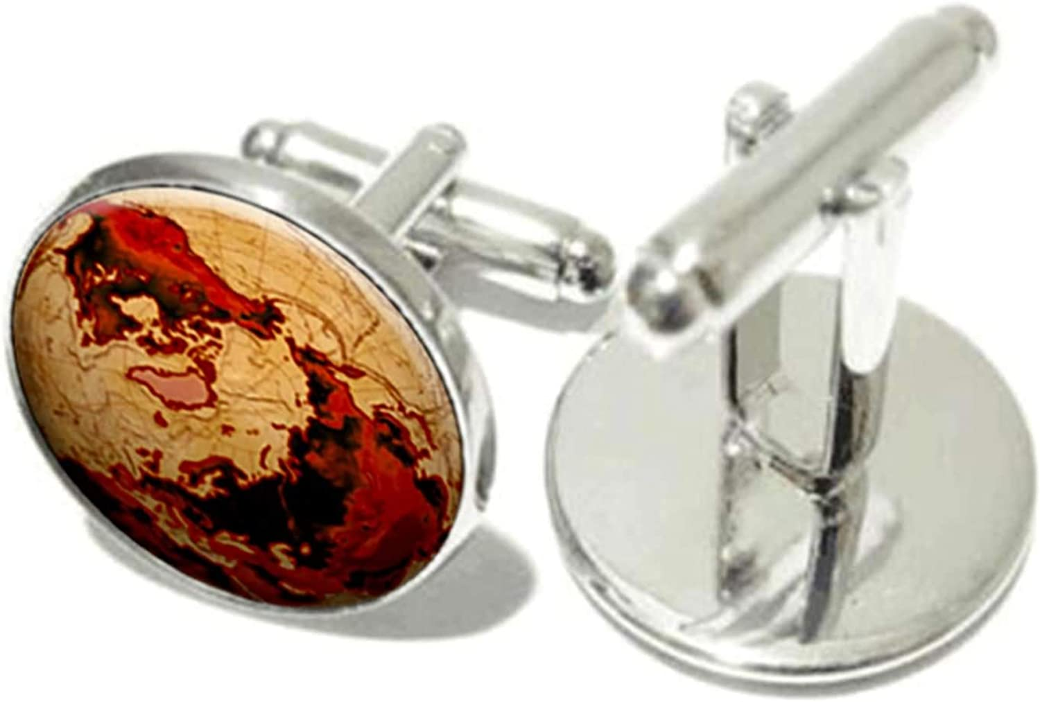 KnSam Cuff Links Alloy European and American Map Silver Cuff-Links for Men