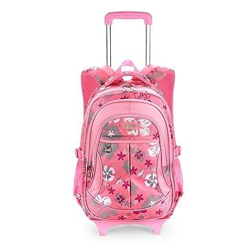 XHHWZB Mochila para niños Trolley, Mochilas Escolares con Ruedas Mochila Escolar Mochila para niños Mochilas con Ruedas Mochila para niños (Color : Pink): ...