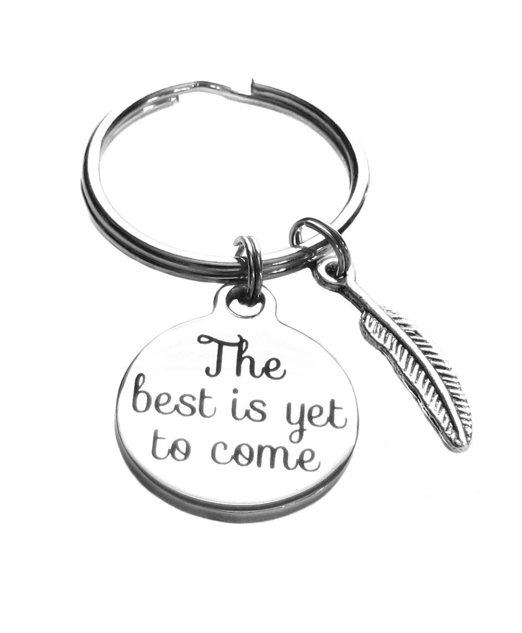 The Best is Yet to Come Feather Charms Keychain, Bag Charm, Inspirational Gift