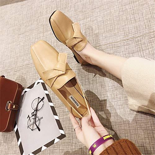 Kaki Ressort Simples Pois Mocassins Plat Amérique À Chaussures Cuir Tête En Europe Confort Sauvage Et Carrée Femmes qzgawt