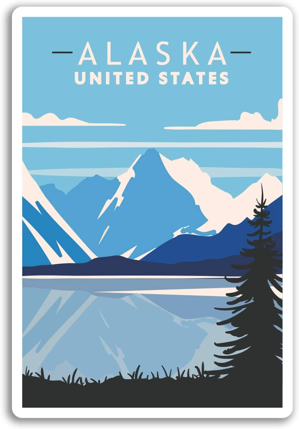 Am/érique du Cool Sticker Laptop Bagages # 17966 DestinationVinyl 2 x 10cm Alaska USA Autocollants en Vinyle 10cm de Haut