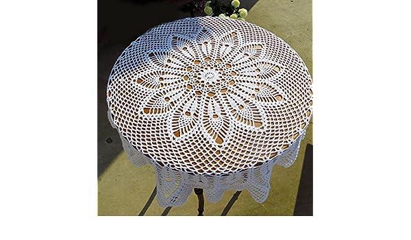 tidetex Pure hecho a mano Crochet Hollow fuera Encaje Mantel redondo de algodón mantel mesa Cubrir Doilies, aspecto vintage, gancho para toalla, algodón, ...