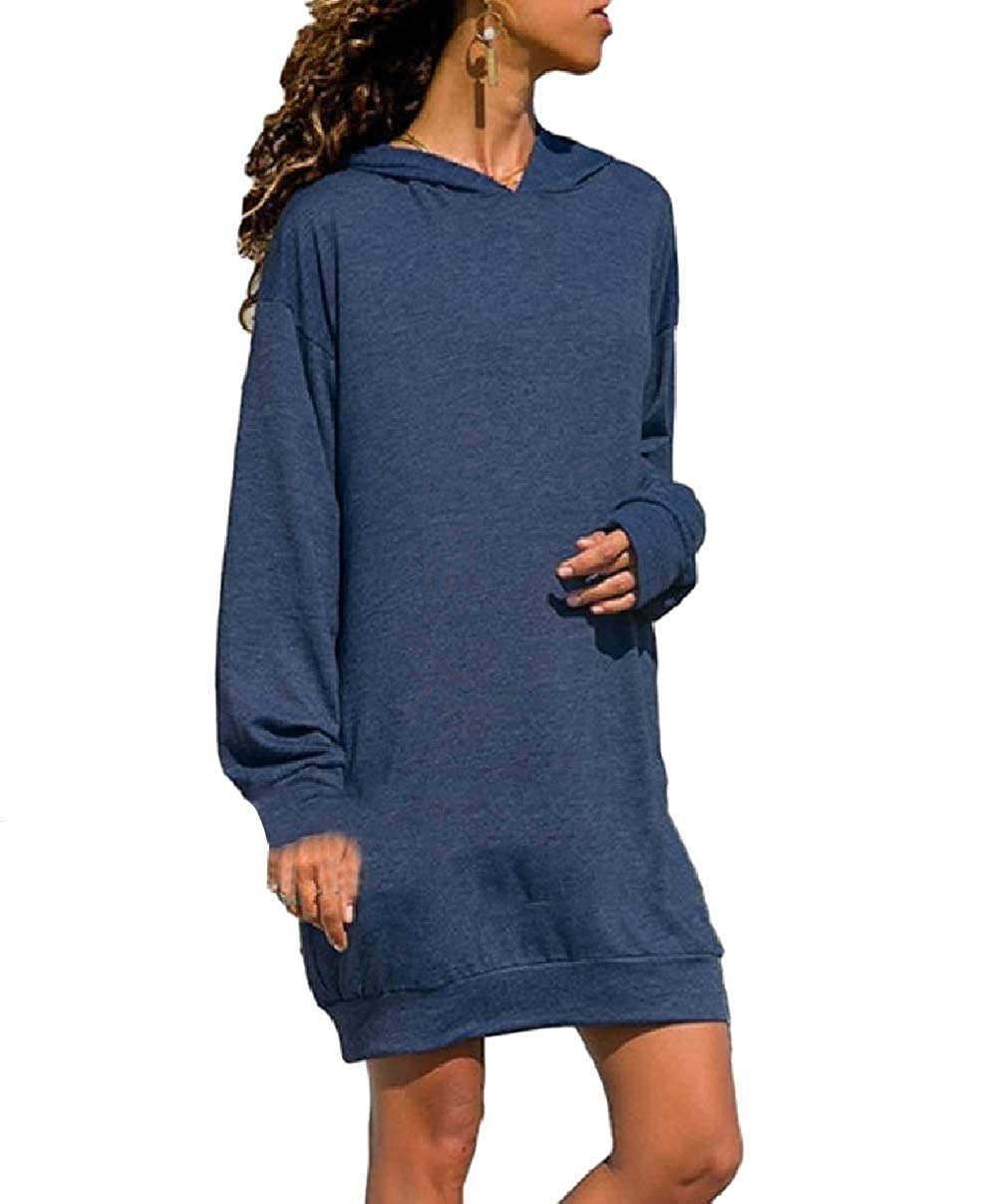 RDHOPE-Women Leisure Hood Plus Size Dresses Thigh-Length Pullover Top