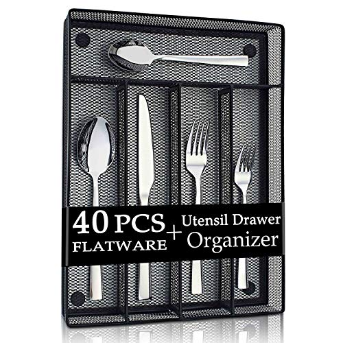 LIANYU 40-Piece Silverware Flatware Set with Organizer Tray, Stainless Steel Square Cutlery Set for 8, Kitchen Party Restaurant Eating Utensils Tableware, Dishwasher Safe
