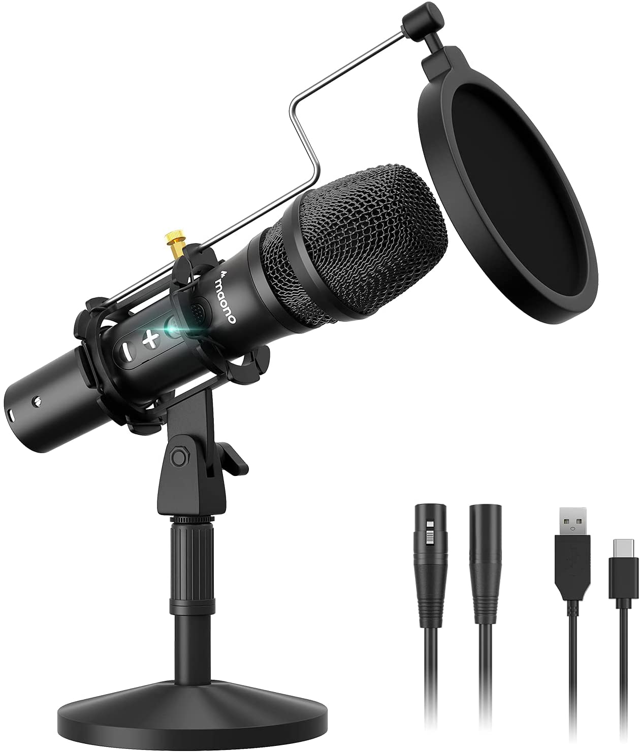 USB/XLR Cardioid Dynamic Microphone, MAONO Metal Professional Zero-latency Monitoring Mic with Volume Control for PC, Audio interface, Idea for Home Studio, Vocal, Podcast, Singing, Streaming (HD300T)
