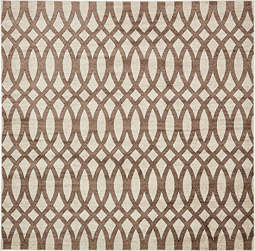 Modern Vintage Inspired Area Rugs Brown 8' x 8' FT Himalaya Collection Rug - rugs for living room - rugs for dining room & bedroom - Floor Carpet