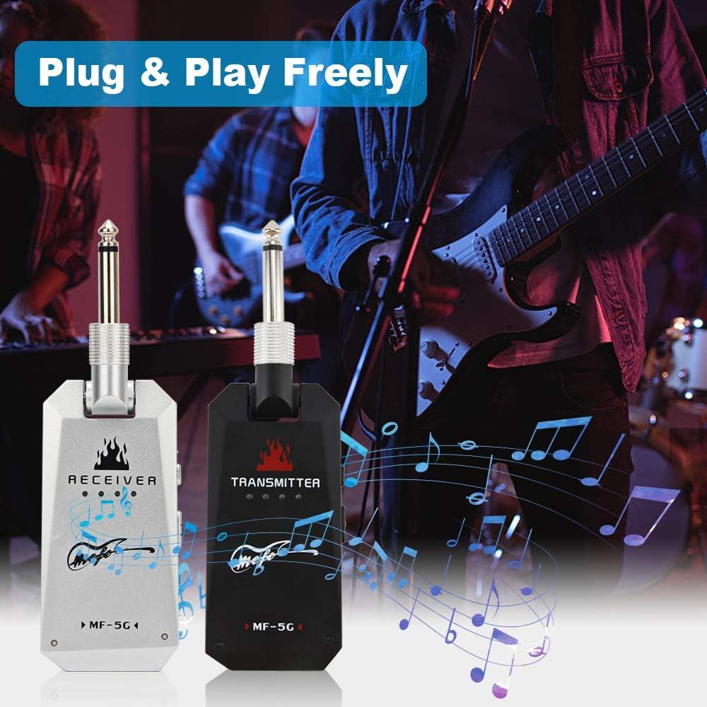 Black Mefe 5.8GHz Wireless Guitar System Rechargeable Audio Guitar System Wireless Digital Transmitter Receiver Set for Electric Guitar Bass