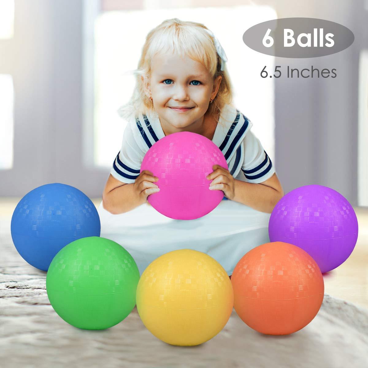 E-BigSales Playground Balls, 6.5inch Inflatable Dodgeball Kickball for Kids, Bouncy Dodge Ball Handball with Free Pump (Set of 6) by E-BigSales