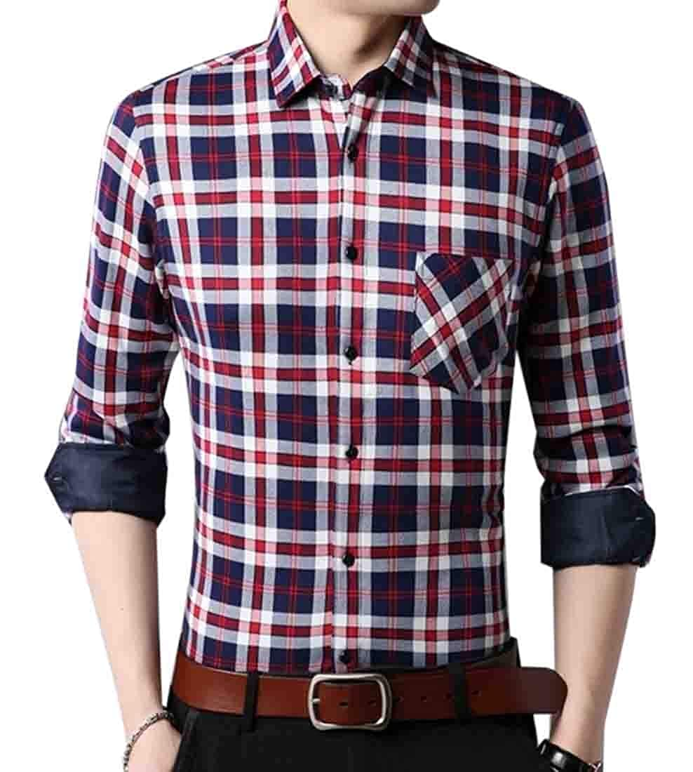 Gocgt Mens Regular-Fit Plaid Button Down Long Sleeve Brushed Shirts
