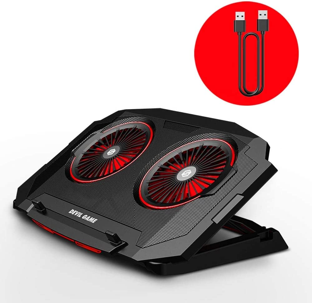 Lihgfw Gaming Notebook Computer Radiador Soporte Base de 15,6 Pulgadas 17,3 Pulgadas silencioso Ventilador de refrigeración de la Placa Rejilla de Doble Turbo Ventilador LED Lighting Ajuste 5 Altura