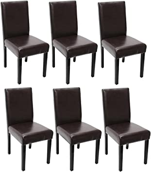 Mendler Lot de 6 chaises de séjour Littau, Simili Cuir, Marron, Pieds foncés