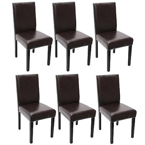 Mendler Set 6x sedie Littau pelle per sala da pranzo ...