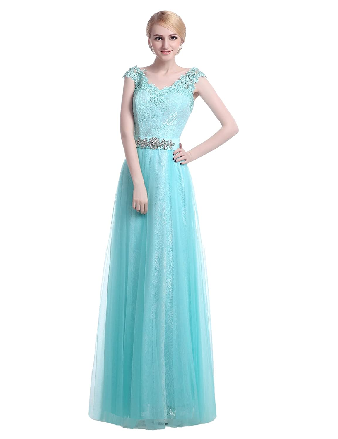 Lactraum LF4226?Cinderella Blue Bridesmaid Dress Evening Dress Lace
