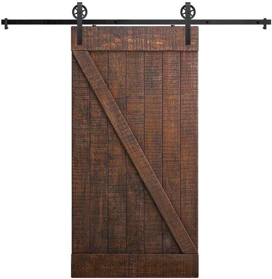 Carril de servicio pesado resistente madera de la puerta de hardware, Deslizar juego de herrajes de puerta de granero, puerta corrediza de bypass kit de pista (Size : 1.7M-Single door): Amazon.es: Bricolaje