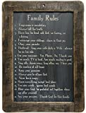 CWI Gifts Family Rules Blackboard on Distressed Slate with Stained Wooden Frame, 8.5-Inch