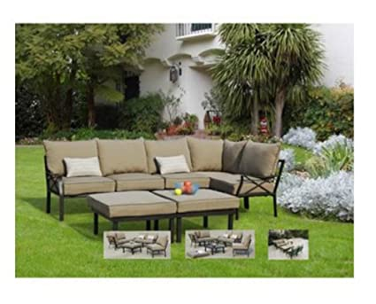 7 Piece Outdoor Sofa Sectional Set, Seats 5, Two Comfortable Cushioned  Chairs And