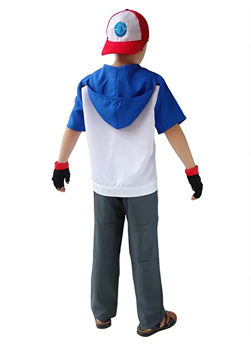 amazoncom dazcos kids size ash ketchum cosplay costume with cap and golves clothing