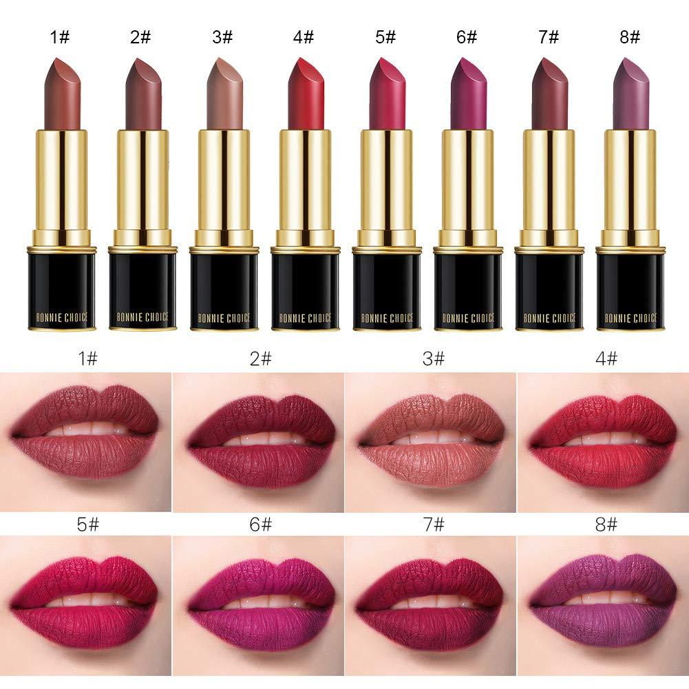 BONNIE CHOICE 8 Colors Matte Velvet Moisture Lipstick Set, Waterproof Long Lasting Matte Lip Sets for Women