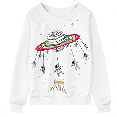 Funny Astronaut Cartoon Printing Sweatshirt Casual Long Sleeve Round Neck Women Sweatshirts Loose Sudadera NEW Autumn