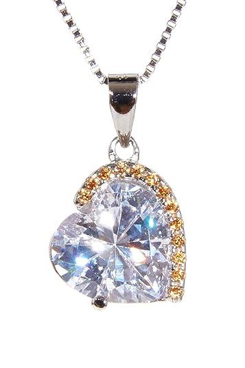 heiß-verkaufendes spätestes 100% hohe Qualität Rabattgutschein GAVENDI Halsketten für Frauen Silber 925 Herz Anhänger Silberkette Damen 45  cm edle Herzkette als Geschenk mit Samtbox