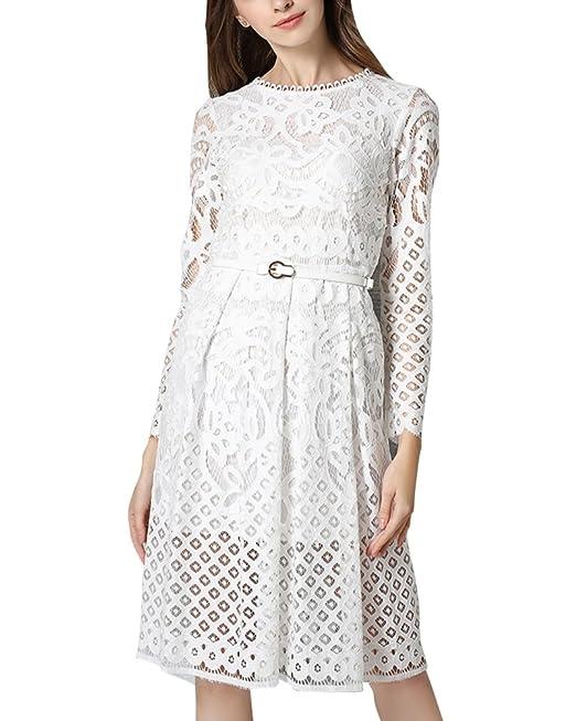 Vestido Bohemio Mujer Vestidos de Encaje de Fiesta Noche Blanco L