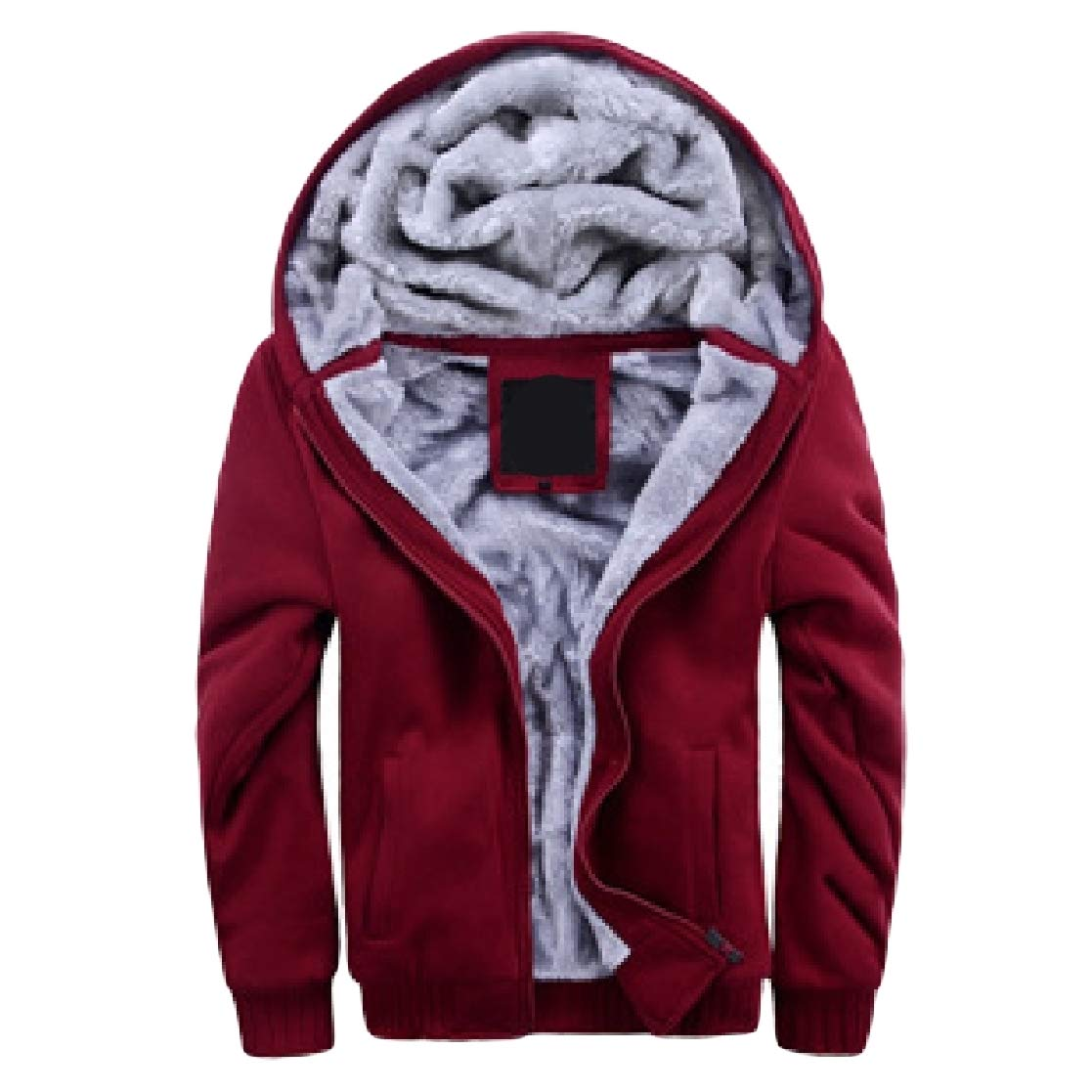 YUNY Mens Plus Size Pockets Velvet Hooded Zip Casual Pullover Sweatshirt Red M