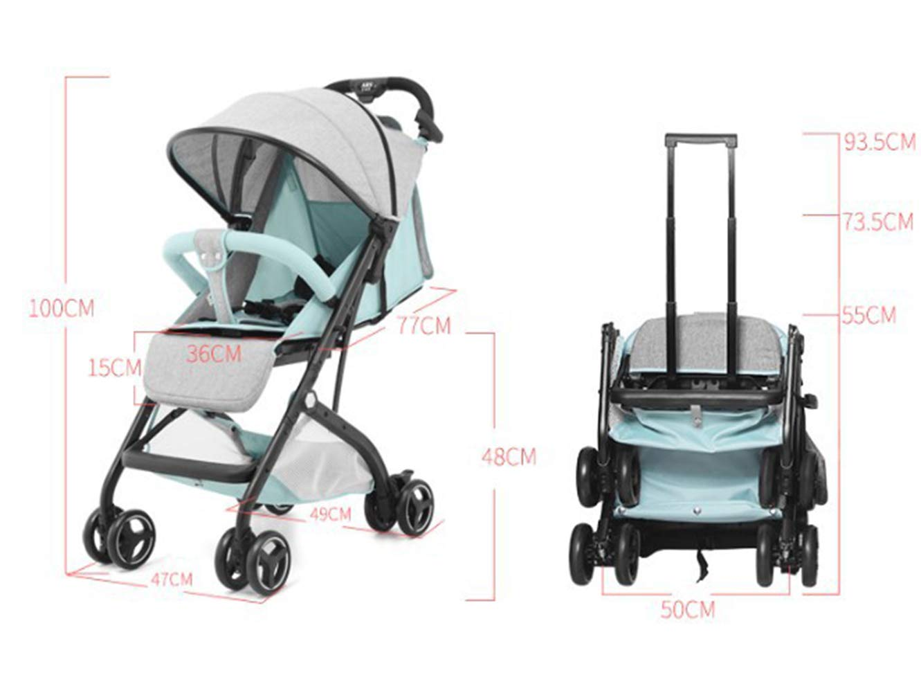 Amazon.com: SHOWGG Cochecito de bebé, recién nacido, ligero ...