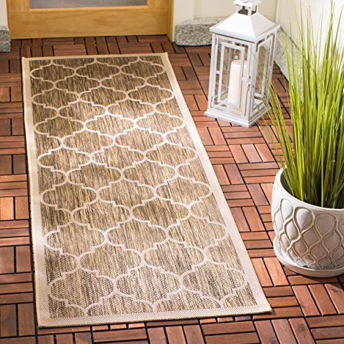 Safavieh Courtyard Collection CY6914-242 Brown and Bone Indoor/ Outdoor Runner (2
