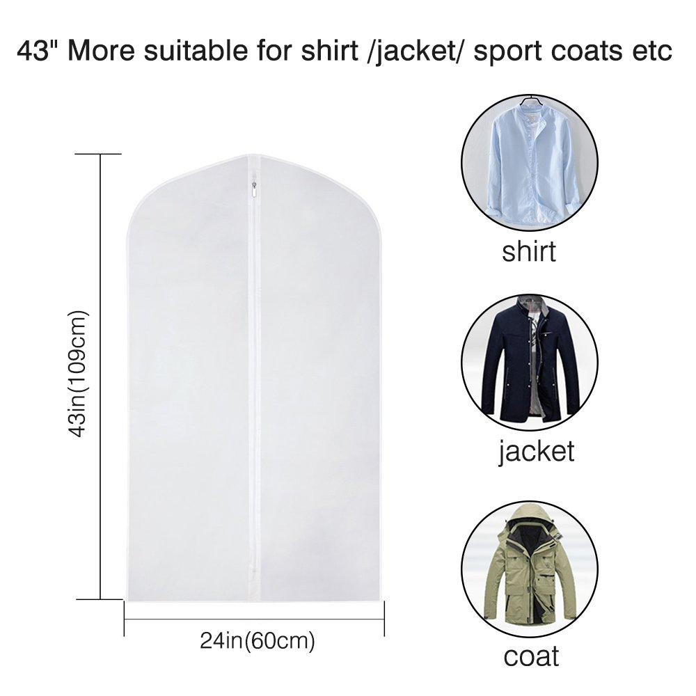 Etmury Garment Bags 6 Pack PEVA Clear Hanging Clothes bag for Clothing Suits or Dresses Closet Storage and Travel with Full Zipper Translucent Moth-Proof(24'' x 43 ''/ 50'') by Etmury (Image #2)