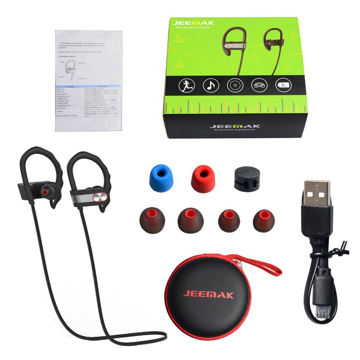 Auriculares Bluetooth Deportes JEEMAK Auriculares Bluetooth V4.1 Auriculares Inalambricos Estéreo con Micrófono Incorporado Cancelación de Ruido para iPhone ...