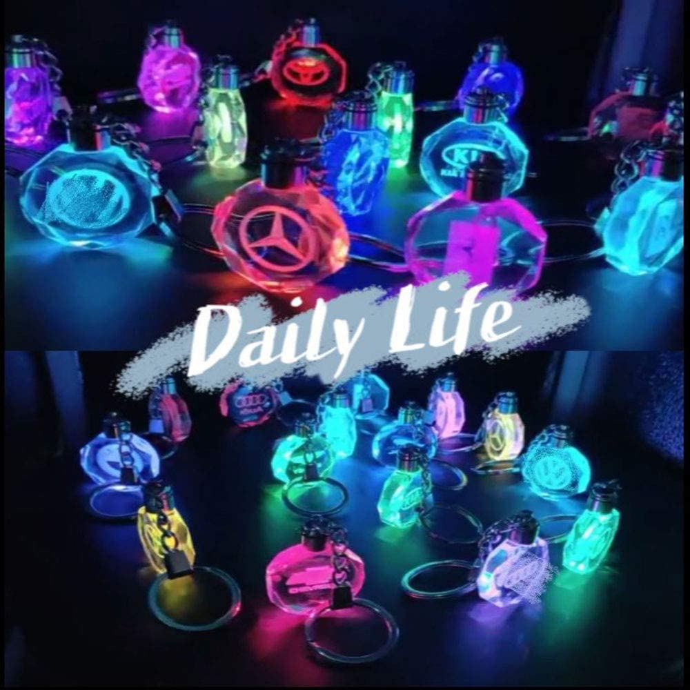 Fitracker LED Car Logo Keychain Crystal Light Changing Car Key Chain Keyring Accessories with Gift Box