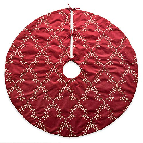 Homey Cozy 56 inch Large Christmas Tree Skirt,Red and Gold Floral Vine Luxury Embroidered Velvet Christmas Decoration - Holiday -
