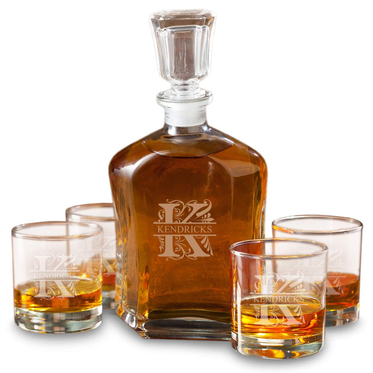 Personalized Whiskey Decanter Set with 4 Low Ball Glasses - Filigree
