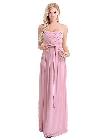 f637a7985eca4 TiaoBug Femme Longue Robe de Soirée Robe de Mariage Maxi Robe de Cérémonie  Bustier Robe Plissé