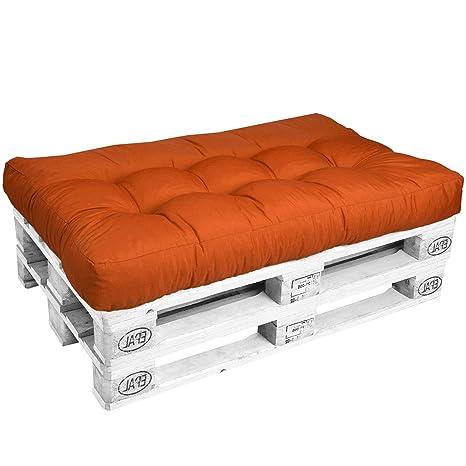 Beautissu Cojines para palés Eco Style - Cojín de Asiento 120x80x15 cm - Color: Naranja - Cojín: Asiento