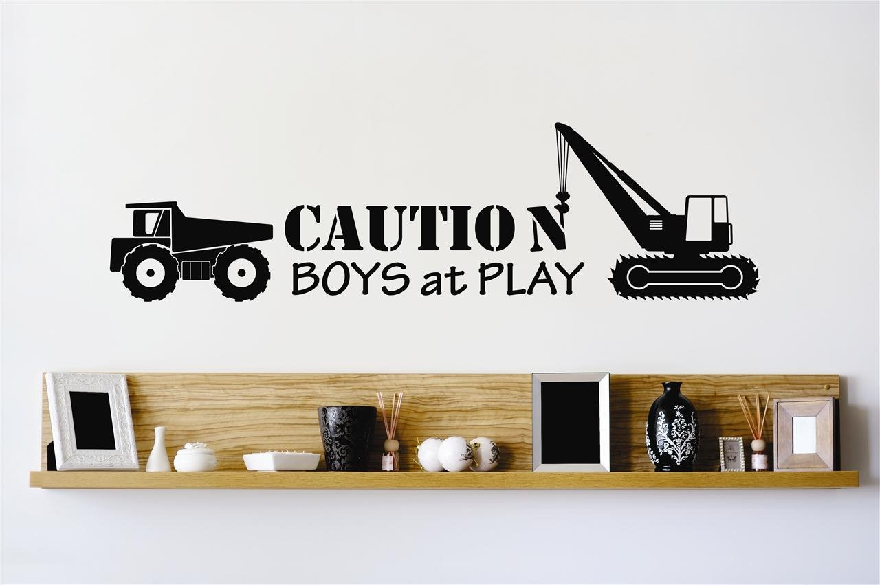 DISCOUNTED SALE 22 Colors Available Peel /& Stick Wall Decal Sticker Size Caution Boys At Play Construction Dump Truck Stylish Decor Bedroom Bathroom Living Room Picture Art Vinyl Mural 10 Inches X 20 Inches