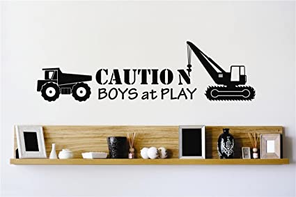 Vinyl Wall Decal Sticker : Caution Boys At Play Construction ...