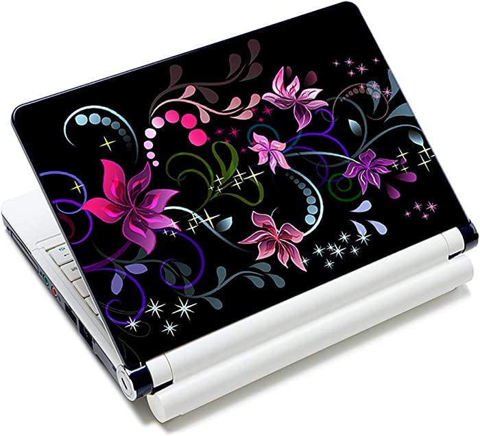 Laptop Stickers Decal,12 13 14 15 15.6 inches Netbook Laptop Skin Sticker Reusable Protector Cover Case for Toshiba Hp Samsung Dell Apple Acer Leonovo Sony Asus Laptop Notebook (Line Flowers)