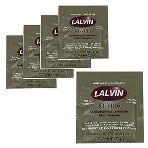 5x Lalvin ICV K1 V1116 Yeast White Wine 5g Sachet Homebrew Wine Making 4.5L-23L