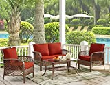 Ulax Furniture 4 Piece Outdoor Patio Deep Seating Group with Cushion, Rattan Wicker Furniture Sofa Set (Red)