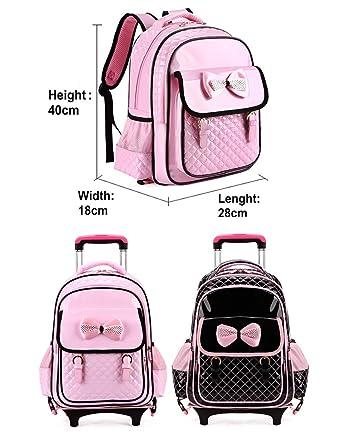 Amazon.com: Kids Trolley Backpack Rolling School Backpack Waterproof Bookbag BESBOMIG: Clothing