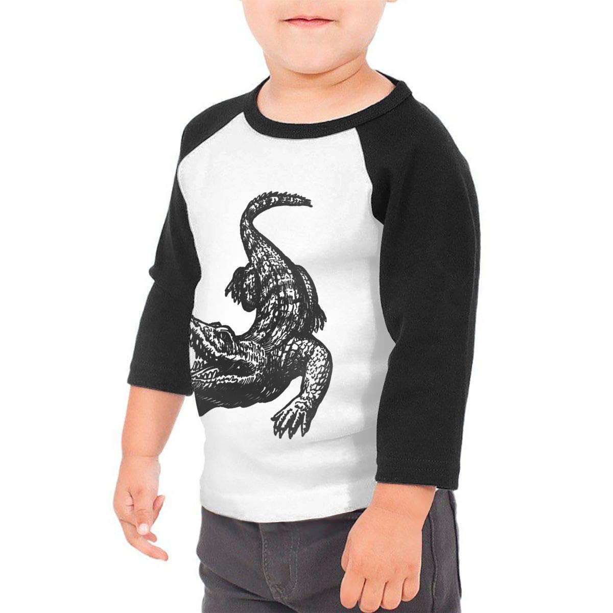 Manlee Alligator Unisex 100/% Cotton Childrens 3//4 Sleeves T-Shirt Top Tees 2T~5//6T