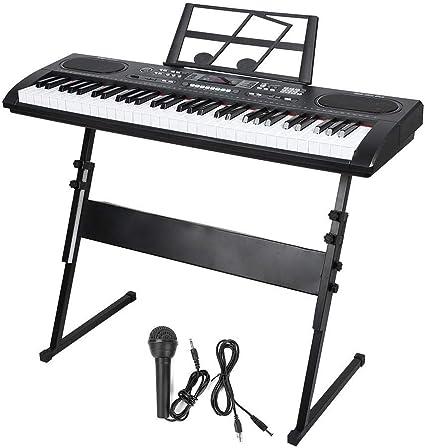 GOTOTOP Teclado de Piano Electrónico 61 Teclas con Soporte de ...