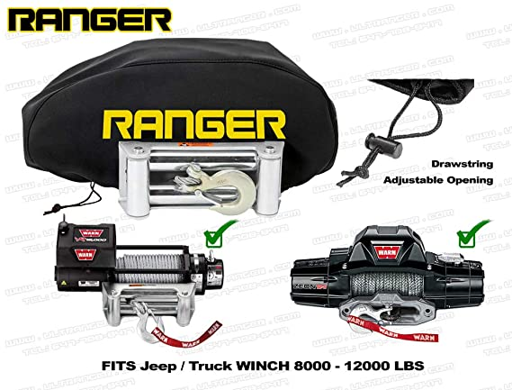 Truck Pickup Weather-Resistant Neoprene Storage Winch Dust Cover Ranger Jeep