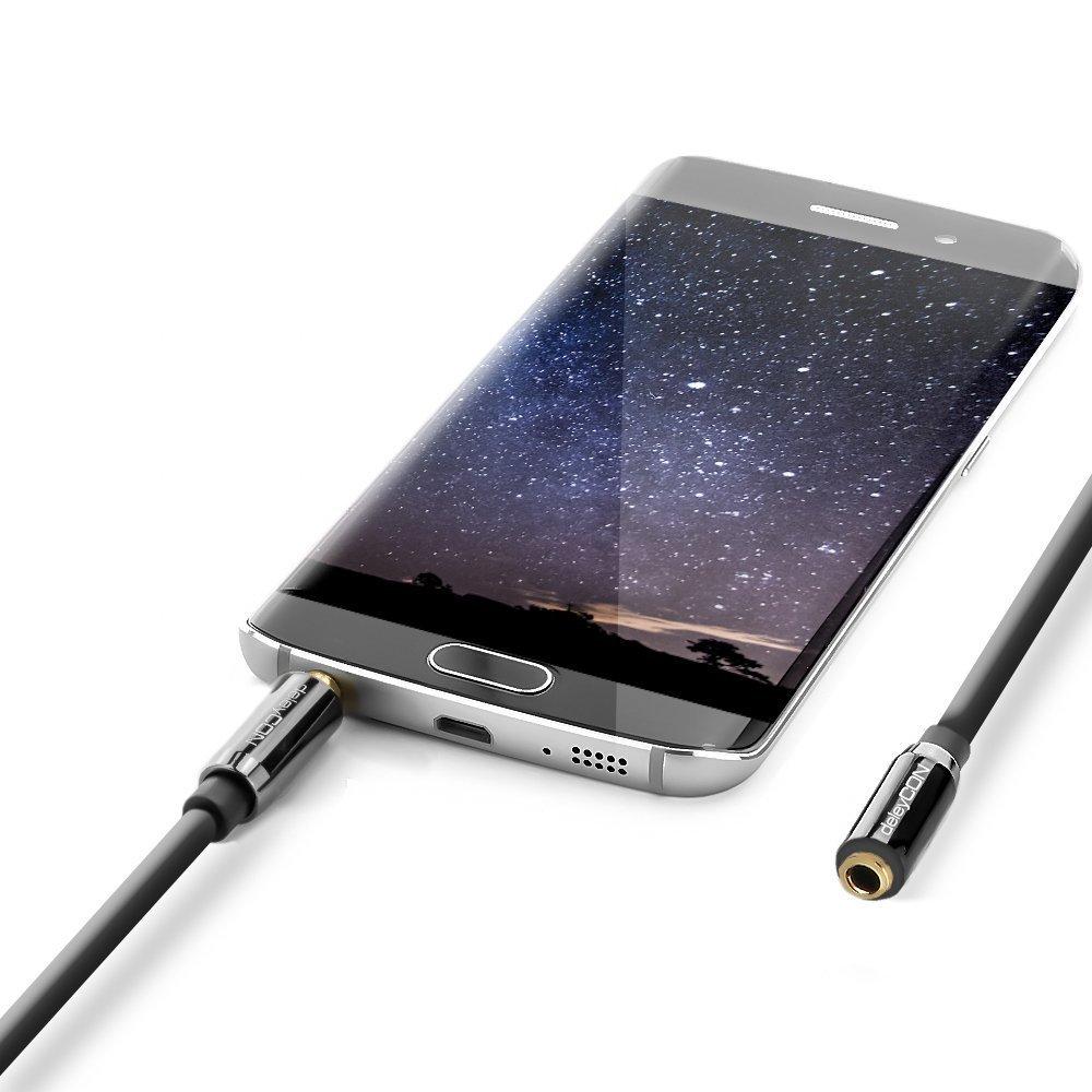 Negro Jack de 3,5mm para Enchufe de 3,5mm deleyCON 5m Cable de Extensi/ón de Audio Est/éreo Cable AUX Enchufe de Metal