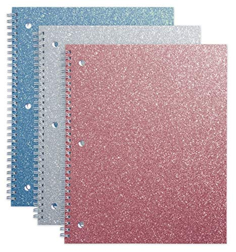 Office Depot Brand Glitter 3-Hole-Punched Notebook, 8