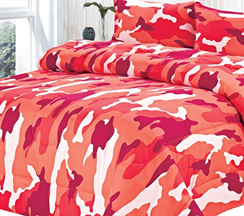 Clara Clark Colored Camouflage Goose Down Alternative Double Fill All Season Comforter, King, Wild Pink/Red