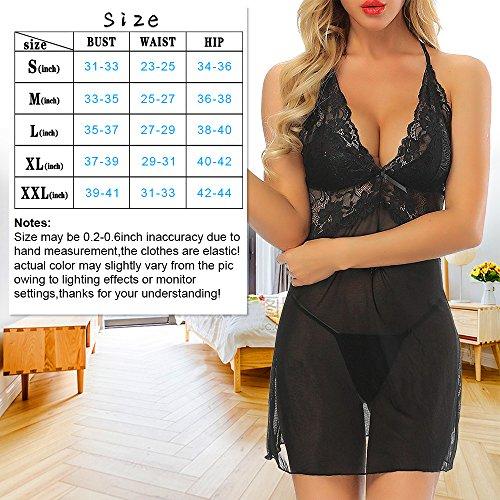 Kyson Women Lingerie Halter Chemise Lace Babydoll Mesh Nightwear V-Neck Sleepwear Sexy Slip Mini Teddy (Black, L) by Kyson (Image #5)